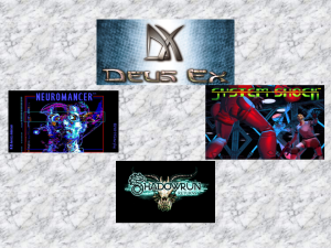 This is a picture of the logos for Deus Ex, Neuromancer, Shadorwrun Returns and System Shock, all of which bought different elements of cyberpunk to the forefront.