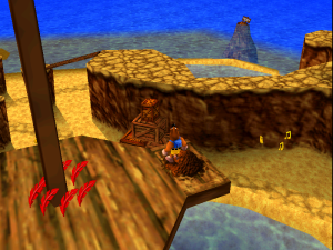 Each world in Banjo-Kazooie is different from the last. In this world, we're in a seaside-adventure sort of place. There are palm trees, beaches and sharks.