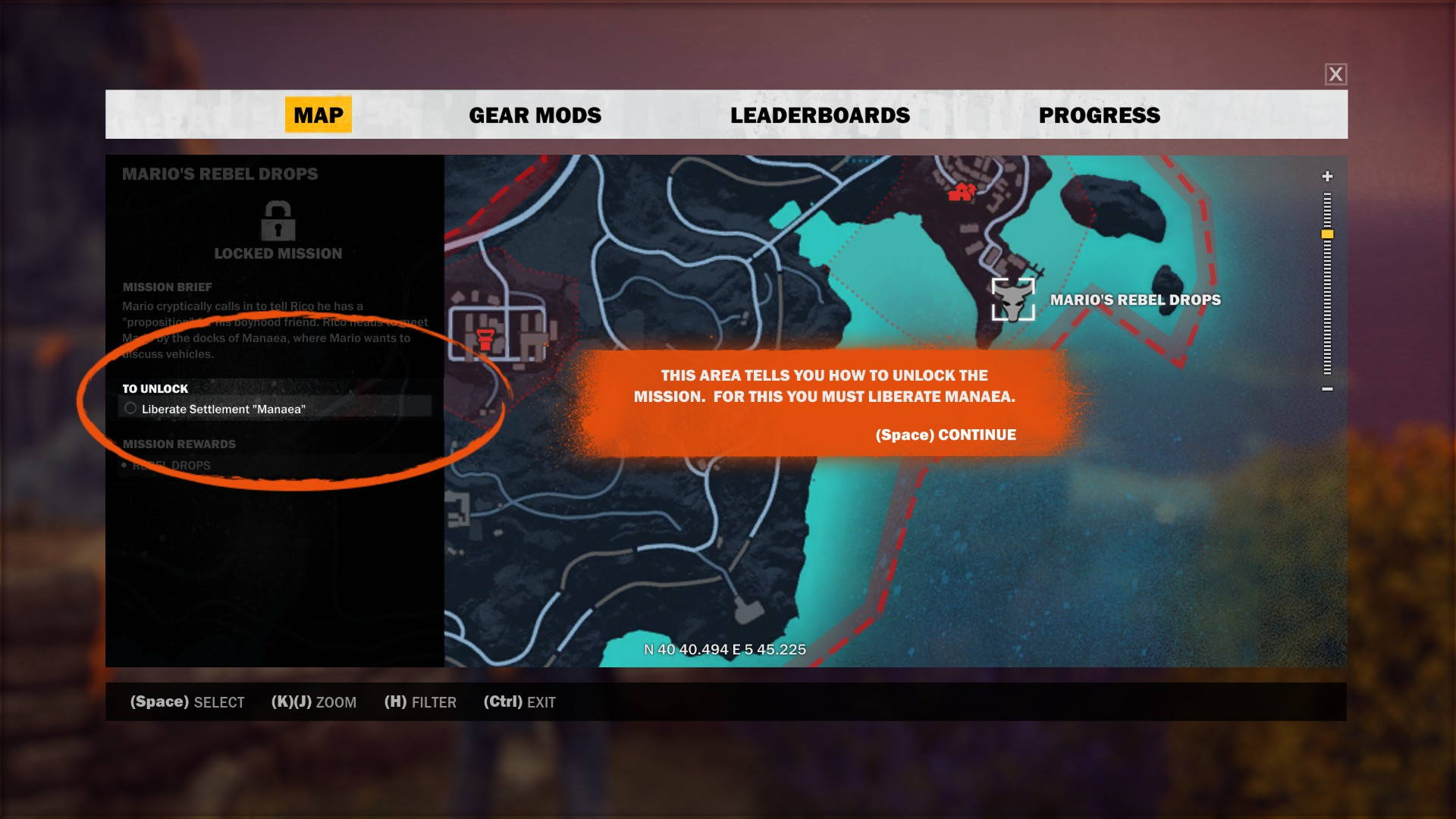 mission screen