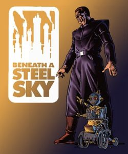 Beneath A Steel Sky has a very dystopian feel which is reflected in the art style. Here's you in future garb along with a robot friend.