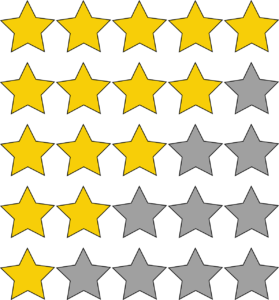 "a collection of ""star awards"" for a job well done.  star awards in the image begin at 5 [the ""best""] and range all the way down to 1 [the ""worst.""]"