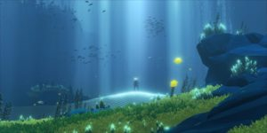I so, so, so hope Abzu is the beautiful, calm diving game everyone tells me it is.  [Well, they tell me it has problems] - this is a screenshot showing many colourful underwater organisms and light-rays reaching down from the sky.