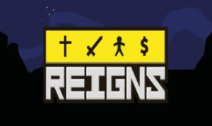 A Reigns logo featuring the four important symbols of the game that signify the Church, the army, the people and the economy.