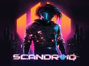 "The album cover features a moody image of ""Red,"" a character in the Scandroid Universe, posing dramatically while the Scandroid logo and Icon are featured in the background."