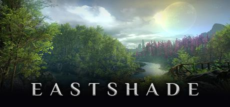 The banner art for Eastshade depicts a foresty area, some mountains and a beautiful cloudscape, plus the game's logo.