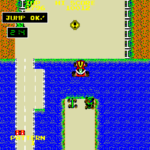 This screenshot of Car Action [Bump 'n Jump/Burnin' Rubber] shows your car from above as it jumps over a huge lake while other cars try to impede your progress.