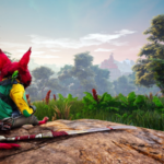 the biomutant in repose, sitting on a hill and looking off into distance that features a sunset or sunrise.  they're headed to a forest, next.