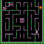 In this screenshot, the titular Ladybug has cleared out a maze of all it's pellets and is about to move to the next board. There are bugs and skeletons trying to kill her, but since she can change the way the maze looks, she can protect herself.