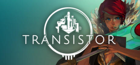 The banner art for Transistor shows the mute protagonist, Red, her trusty sword and the game's logo.