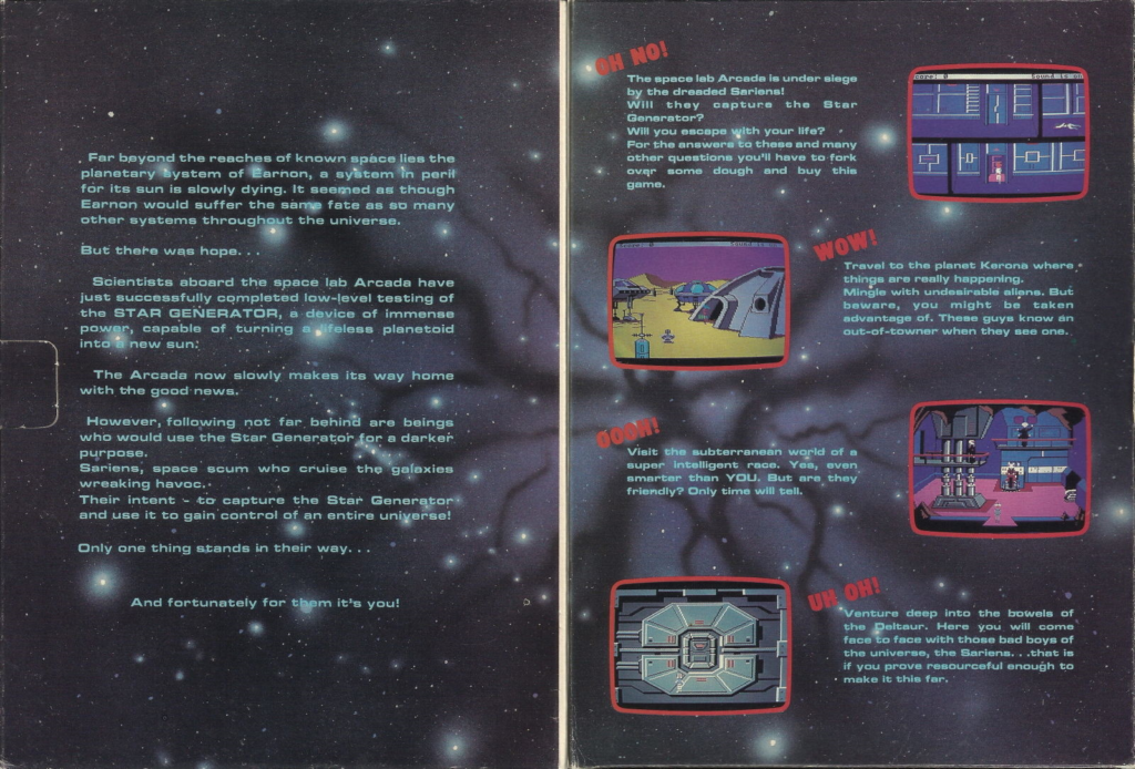 An inide-flap view of Sierra's Space Quest I with screenshots and a blurb to get you interested in the game.