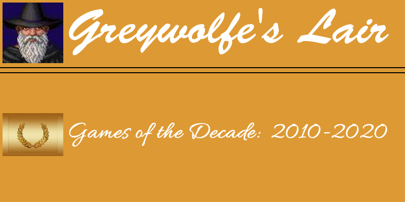 Greywolfe's Games of the Decade Header image, featuring some text and an image of a wreath to signify